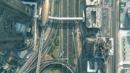 Aerial top down view of Burj Khalifa Metro Station area in Dubai, UAE Archivio Fotografico