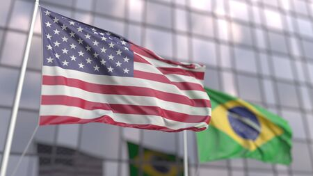 Waving flags of the United States and Brazil in front of a modern skyscraper facade, 3D rendering