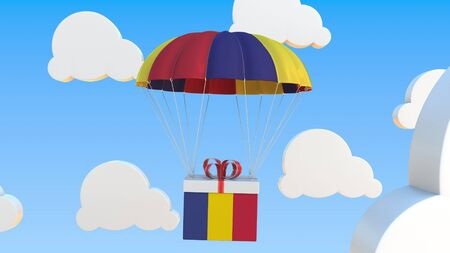 Box with national flag with a parachute. Conceptual 3D Stock Photo