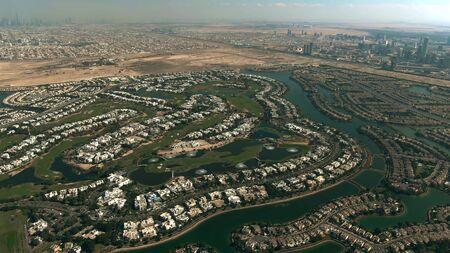 Aerial view of Emirates Hills, a luxury community located in Dubai, United Arab Emirates