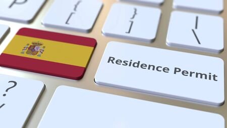 Residence Permit text and flag of Spain on the buttons on the computer keyboard. Immigration related conceptual 3D rendering