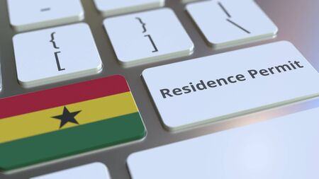 Residence Permit text and flag of Ghana on the buttons on the computer keyboard. Immigration related conceptual 3D rendering Foto de archivo