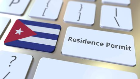 Residence Permit text and flag of Cuba on the buttons on the computer keyboard. Immigration related conceptual 3D rendering