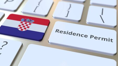 Residence Permit text and flag of Croatia on the buttons on the computer keyboard. Immigration related conceptual 3D rendering