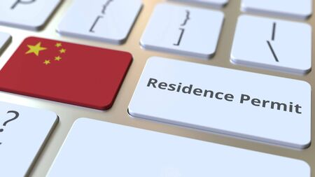 Residence Permit text and flag of China on the buttons on the computer keyboard. Immigration related conceptual 3D rendering