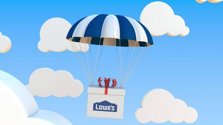 LOWES logo on moving box moves under parachute. Editorial 3D rendering