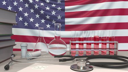 Clinic laboratory equipment on American flag background. Healthcare and medical research in the USA related conceptual 3D rendering
