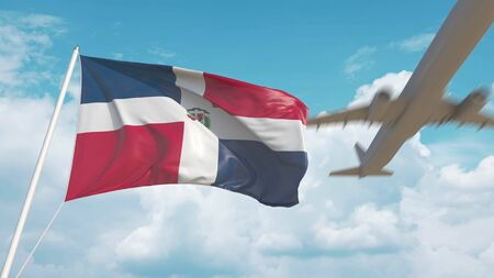 Commercial airplane landing behind the Dominican national flag. Tourism in te Dominican Republic. 3D rendering