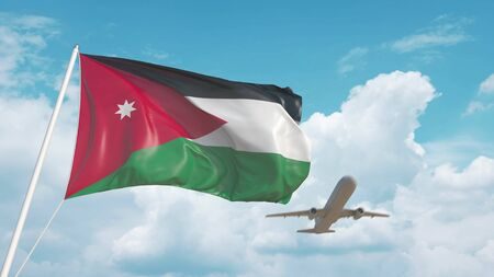Airliner approaches the national flag. Tourism related 3D