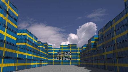 Containers with BLACK FRIDAY text and national flags of Sweden. Swedish commerce related 3D rendering