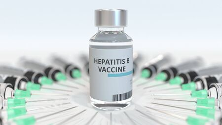 Vial with hepatitis B vaccine and syringes. Conceptual medical 3D rendering