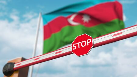 Closed boom barrier with stop sign against the Azerbaijani flag. Restricted entry or certain ban in Azerbaijan. 3D rendering Foto de archivo
