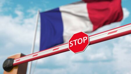 Barrier gate being closed with flag of France as a background. French restricted entry or certain ban. 3D rendering