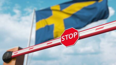 Closed boom barrier with stop sign against the Swedish flag. Restricted border crossing or certain ban in Sweden. 3D rendering