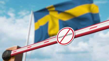 Closed boom barrier with stop immigration sign against the Swedish flag. Restricted border crossing or immigration ban in Sweden. 3D rendering