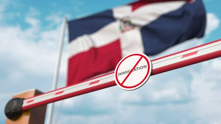 Closed boom gate with no immigration sign on the Dominican flag background. Border closure or immigration ban in the Dominican Republic. 3D rendering