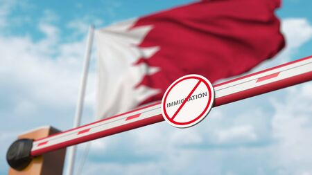Closed boom gate with no immigration sign on the Bahraini flag background. Border closure or immigration ban in Bahrain. 3D rendering
