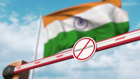 Barrier gate with no immigration sign being closed with flag of India as a background. Indian border closure or immigration ban. 3D rendering