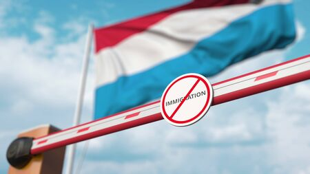 Barrier gate with no immigration sign being closed with flag of Luxembourg as a background. Luxembourgian restricted border crossing or immigration ban. 3D rendering Foto de archivo