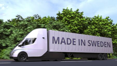Semi-trailer truck with text on the side. 3D