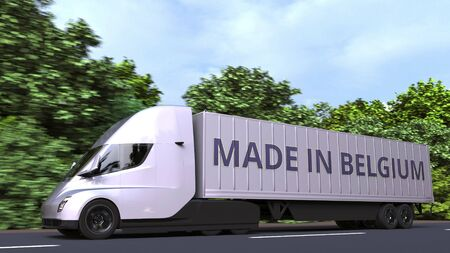 Trailer truck with MADE IN BELGIUM text on the side. Belgian import or export related 3D rendering