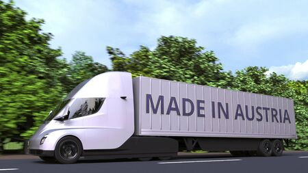 Modern electric semi-trailer truck with MADE IN AUSTRIA text on the side. Venezuelan import or export related 3D rendering Reklamní fotografie