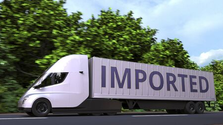 Trailer truck with IMPORTED text on the side. 3D rendering Stock fotó