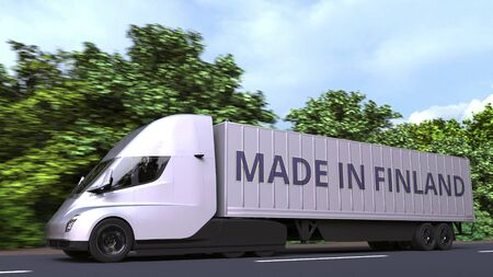 Modern electric semi-trailer truck with MADE IN FINLAND text on the side. Finnish import or export related 3D rendering