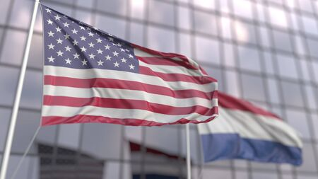 Waving flags of the United States and the Netherlands in front of a modern skyscraper facade. 3D rendering Foto de archivo