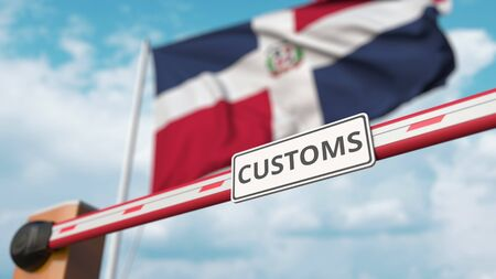 Closed boom gate on the flag background. Restricted entry or protective tariffs 3D Фото со стока