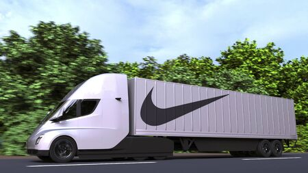 Electric semi-trailer truck with NIKE logo on the side. Editorial 3D rendering Editorial