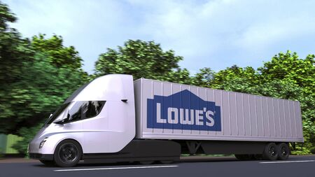 Electric semi-trailer truck with LOWES logo on the side. Editorial 3D rendering Editorial