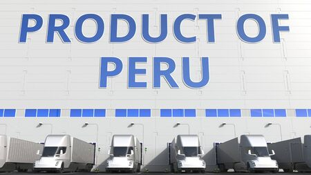 Electric semi-trailer trucks at warehouse loading dock with PRODUCT OF PERU text. Peruvian logistics related 3D rendering