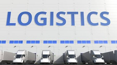 Modern semi-trailer trucks at warehouse loading dock with LOGISTICS text. 3D rendering