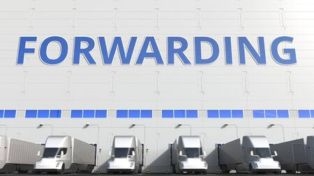Trailer trucks at warehouse loading dock with FORWARDING text. 3D rendering