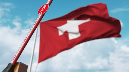 Opening boom barrier with stop sign against the Swiss flag. Free border crossing or lifting a ban in Switzerland. 3D rendering Stock Photo