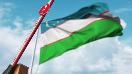 Open boom gate on the Uzbek flag background. Free entry or lifting a ban in Uzbekistan. 3D rendering