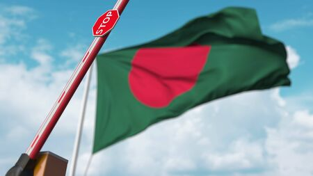 Barrier gate being opened with flag of Bangladesh as a background. Bangladeshi Free entry or lifting a ban. 3D rendering