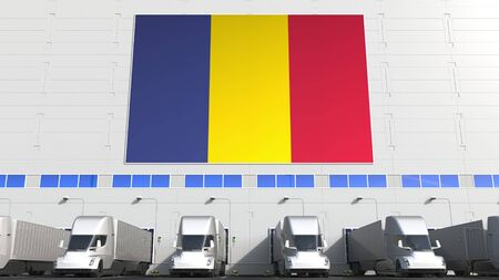 Semi-trailer trucks loading at warehouse. 3D Stock Photo