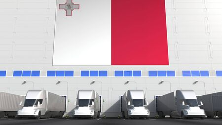 Trailer trucks at warehouse loading dock with flag of MALTA. Maltese logistics related conceptual 3D rendering