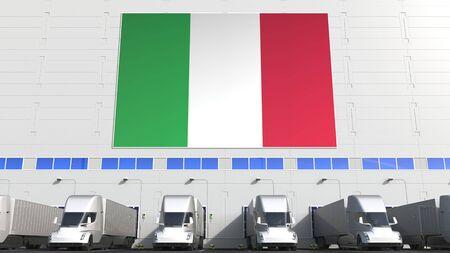 Semi-trailer trucks loading at warehouse. 3D Stock fotó