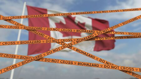Biohazard restriction tape lines against the Canadian flag. Restricted entry or quarantine in Canada. Conceptual 3D rendering