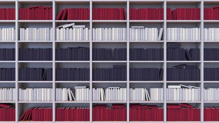 Many spines of the books form the flag. Literature, culture or science Stock Photo
