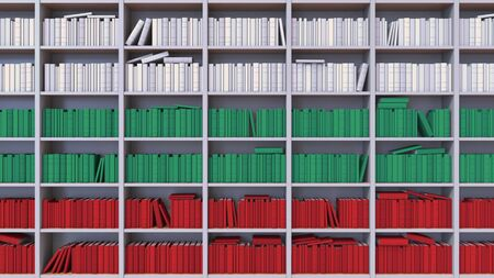 Many spines of the books form the flag. Literature, culture or science