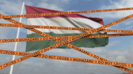 Biohazard restriction tape lines against the flag. Restricted entry or quarantine. Conceptual 3D