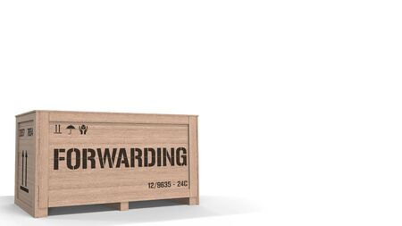 Wooden crate with printed FORWARDING text on white background. 3D rendering