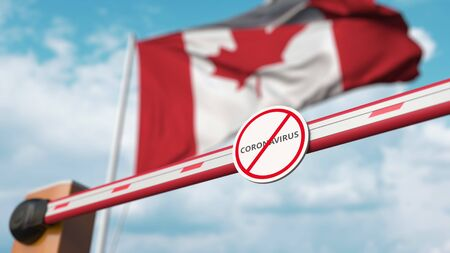 Closing boom barrier with STOP CORONAVIRUS sign against the Canadian flag. Quarantine in Canada. 3D rendering Imagens