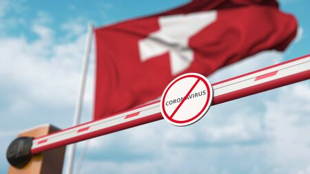 Closing boom barrier with STOP CORONAVIRUS sign against the Swiss flag. Quarantine in Switzerland. 3D rendering