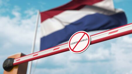 Closing boom barrier with STOP CORONAVIRUS sign against the Dutch flag. Quarantine in Netherlands. 3D rendering