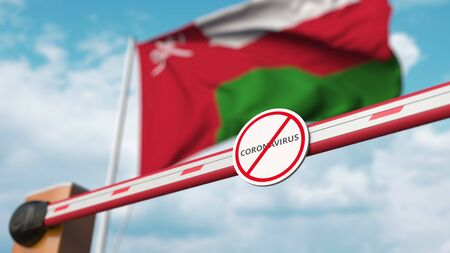 Closing boom barrier with STOP CORONAVIRUS sign against the Omani flag. Quarantine in Oman. 3D rendering Imagens